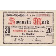 Karaliaučius. 1918 m. 20 markių. 6 skaičiai. aUNC