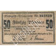 Karaliaučius. 1917 m. 50 pfennigų. UNGULTIG. RETAS. F