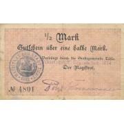 Tilžė. 1914 m. 1/2 markės. RETAS. F