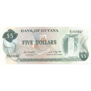 Gajana. 1966-1992 m. 5 doleriai. P22e. UNC
