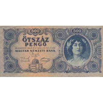 Vengrija. 1945 m. 500 pengo. VF-