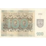 Lietuva. 1991 m. 100 talonų. Be užrašo. XF+
