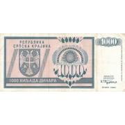 Kroatija. 1992 m. 1.000 dinarų. VF-