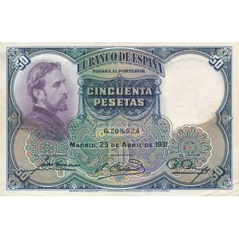 Ispanija. 1931 m. 50 pesetų. VF+