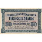 Rytų Skolinamoji Kasa. 1918 m. 50 markių. Serija: C. VF+