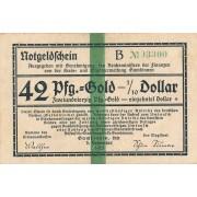 Gumbinė. 1923 m. 42 pfennigai. 6 skaičiai. VF