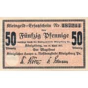Karaliaučius. 1917 m. 50 pfennig. VF