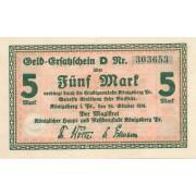 Karaliaučius. 1918 m. 5 markės. Serija: D. XF