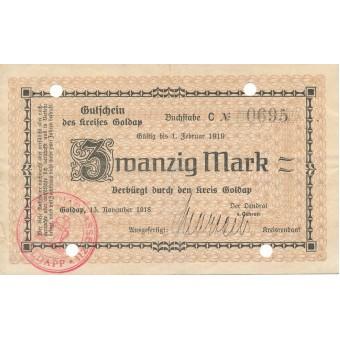 Geldapė. 1918 m. 20 markių. VF-