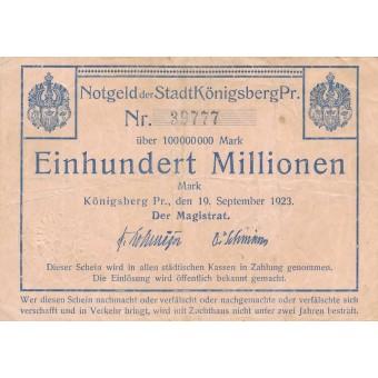 Karaliaučius. 1923 m. 100.000.000 markių. VF-