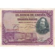 Ispanija. 1928 m. 50 pesetų. VF