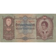 Vengrija. 1932 m. 50 pengo. F