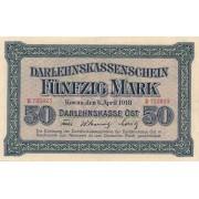 Rytų Skolinamoji Kasa. 1918 m. 50 markių. VF+