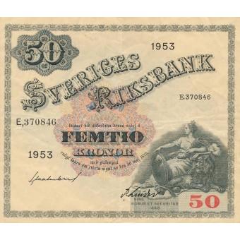 Švedija. 1953 m. 50 kronų. VF