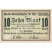 Karaliaučius. 1918 m. 10 markių. UNGULTIG. XF+