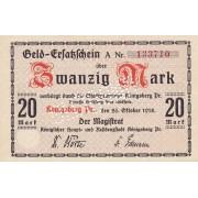 Karaliaučius. 1918 m. 20 markių. UNGULTIG. aUNC