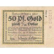 Karaliaučius. 1923 m. 50 aukso pfennigų. Serija: F. VF. RETAS