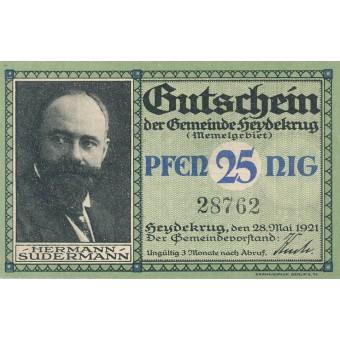 Šilutė. 1921 m. 25 pfennigai. aUNC