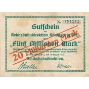 Karaliaučius. 1923 m. 20.000.000.000 ant 5.000.000 markių. RETAS. VF-
