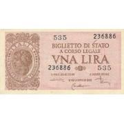 Italija. 1944 m. 1 lyra. VF-