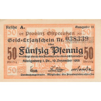 Karaliaučius. 1918 m. 50 pfennigų. Ausgabe II. XF