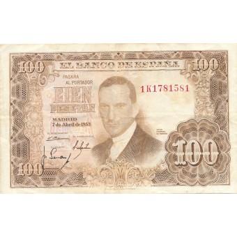 Ispanija. 1953 m. 100 pesetų. VF-