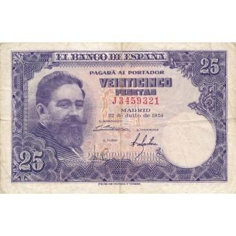 Ispanija. 1954 m. 25 pesetos. F