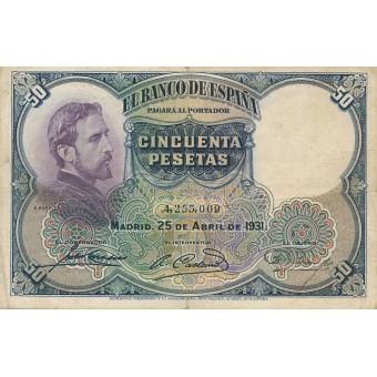 Ispanija. 1931 m. 50 pesetų. F
