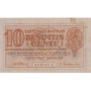Lietuva. 1922 m. lapkritis. 10 centų. Serija: C