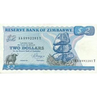 Zimbabvė. 1983 m. 2 doleriai