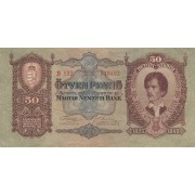 Vengrija. 1932 m. 50 pengo