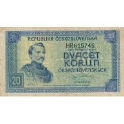 Čekoslovakija. 1945 m. 20 korunų