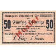 Karaliaučius. 1917 m. 50 pfennigų. Muster. aUNC. RETAS