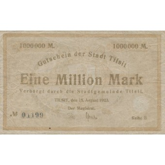 Tilžė. 1923 m. 1.000.000 markių. Serija: B