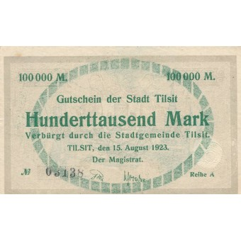 Tilžė. 1923 m. 100.000 markių. Serija: A