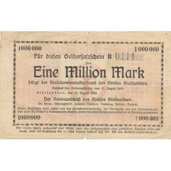 Stalupėnai. 1923 m. 1.000.000 markių. Serija: B. RETAS