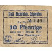 Lenkija / Bištynekas. 1919 m. 10 pfennigų. RETAS. F-