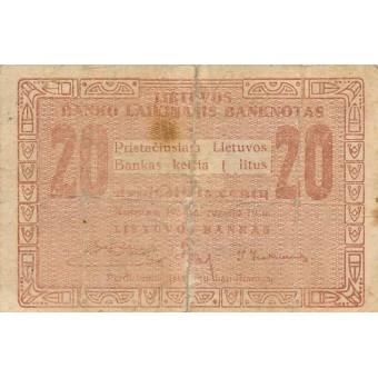 Lietuva. 1922 m. rugsėjis. 20 centų