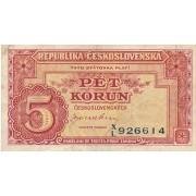 Čekoslovakija. 1945 m. 5 korunos