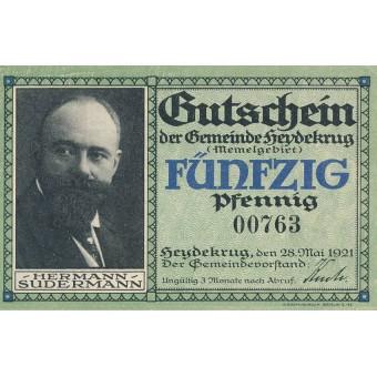 Šilutė. 1921 m. 50 pfennigų