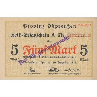 Karaliaučius. 1918 m. 5 markės. Ausgabe I. RETAS
