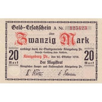 Karaliaučius. 1918 m. 20 markių.