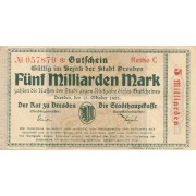 Vokietija / Dresdenas. 1923 m. 5.000.000.000 markių