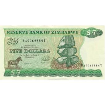 Zimbabvė. 1994 m. 5 doleriai