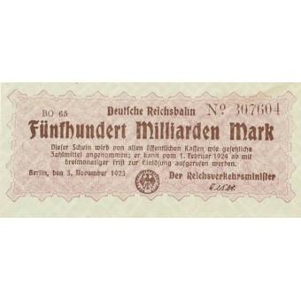 Vokietija. 1923 m. 500.000.000.000 markių
