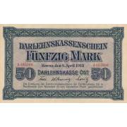 Rytų Skolinamoji Kasa. 1918 m. 50 markių. Serija: A