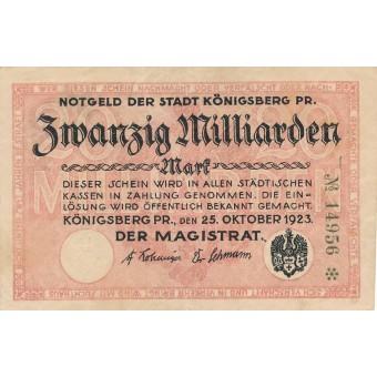Karaliaučius. 1923 m. 20.000.000.000 markių. RETAS