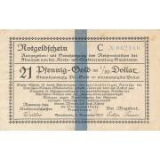 Gumbinė. 1923 m. 21 pfennigas. 6 skaičiai. VF