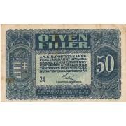Vengrija. 1920 m. 50 filerių