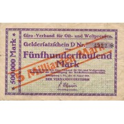 Karaliaučius. 1923 m. 5.000.000.000 ant 500.000 markių. RETAS